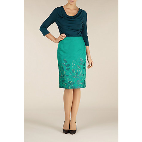 Buy Alexon Oriental Jacquard Skirt, Green Online at johnlewis.com
