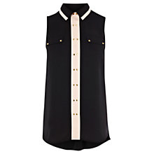 Buy Warehouse Stud Detail Blouse, Black Online at johnlewis.com