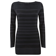 Buy Mint Velvet Sheer Panel Wool Knitted Top, Black Online at johnlewis.com