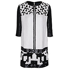 Buy French Connection Geomaze Beaded Dress, Black/White Online at johnlewis.com