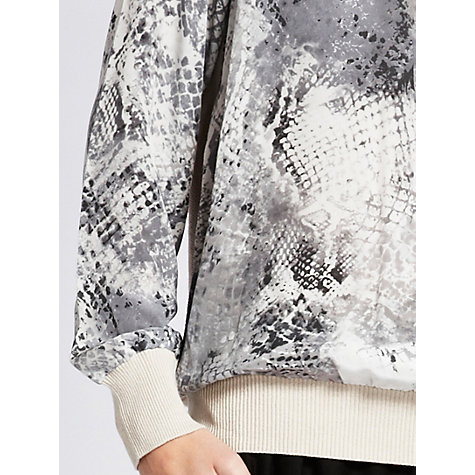 Buy Mint Velvet Becks Print Silk Sweatshirt, Grey Online at johnlewis.com