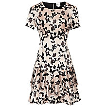 Buy Reiss Frill Hem Flared Dress, Blush Online at johnlewis.com