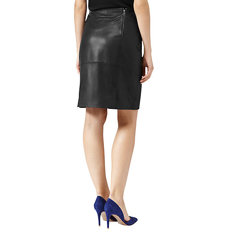 Buy Reiss Ezra Leather Skirt, Black Online at johnlewis.com