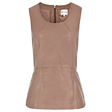 Buy Reiss Gala Leather Peplum Top, Cognac Online at johnlewis.com