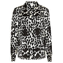 Buy Reiss Pippa Printed Silk Shirt, Black/Cream Online at johnlewis.com