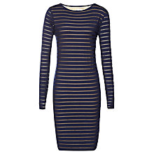 Buy Reiss Bettany Mesh Stripe Bodycon Dress, Navy Online at johnlewis.com