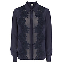 Buy Reiss Sophia Silk And Lace Sheer Shirt, Navy Online at johnlewis.com