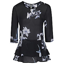 Buy French Connection Water Flower Drape Top, Black Online at johnlewis.com