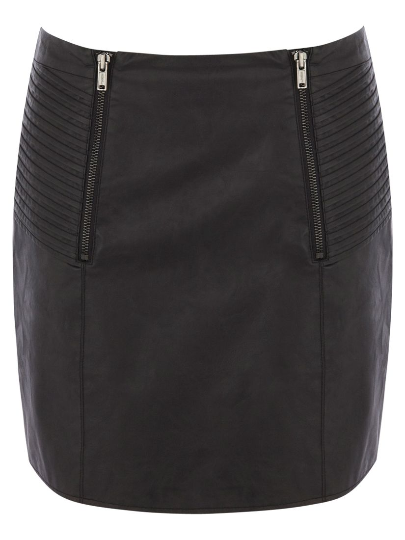 Oasis Pleated Zip Detail Miniskirt, Black