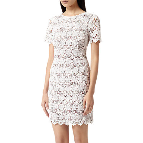 Buy Reiss Guipure Lace Shift Dress, White Online at johnlewis.com