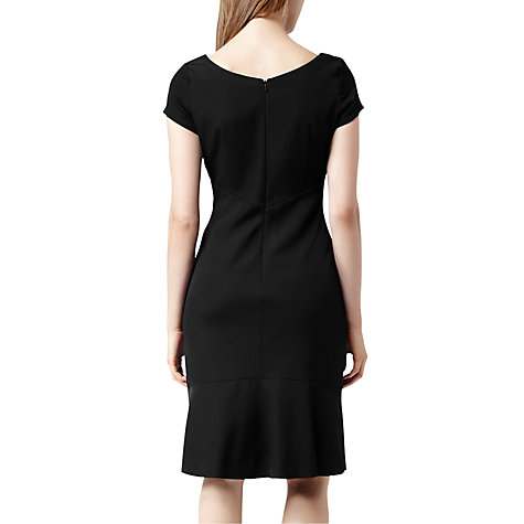 Buy Reiss Agustini Fold Neck Tailored Dress, Black Online at johnlewis.com
