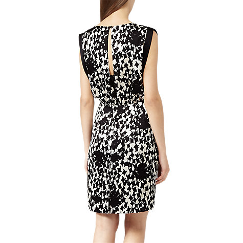 Buy Reiss Arun Printed Silk Dress, Black/Cream Online at johnlewis.com