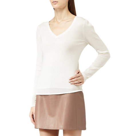 Buy Reiss Loose Fine Knit Jumper, Cream Online at johnlewis.com
