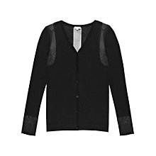 Buy Reiss Mesa Sheer Panel Cardigan, Black Online at johnlewis.com