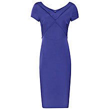 Buy Reiss Augustini Fold Neck Tailored Dress, Cobalt Online at johnlewis.com