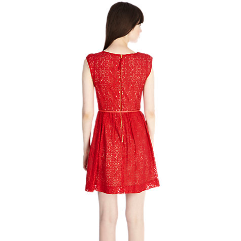 Buy Oasis Lace Skater Dress, Mid Red Online at johnlewis.com