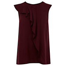 Buy Oasis High Neck Frill Top, Burgundy Online at johnlewis.com