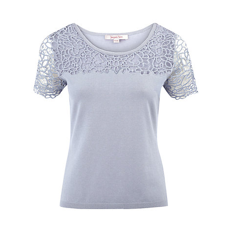 Buy Jacques Vert Lace Yoke Top, Blue Online at johnlewis.com