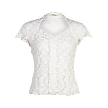Buy Precis Petite Ruched Lace Top, Ivory Online at johnlewis.com