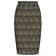 Buy Warehouse Scalloped Lace Pencil Skirt, Black Pattern Online at johnlewis.com
