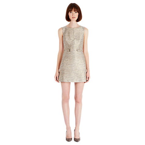 Buy Warehouse Zip Waist Jacquard Dress, Cream Online at johnlewis.com
