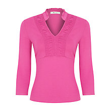 Buy Precis Petite Ruched Front Top, Cerise Online at johnlewis.com