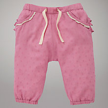 Buy John Lewis Baby Reverse Frill Trousers, Pink Online at johnlewis.com