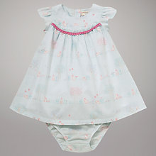 Buy John Lewis Baby Rabbit Scene Woven Dress, Blue Online at johnlewis.com