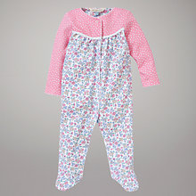 Buy John Lewis Baby Polka Dot and Floral Jersey Sleepsuit, Pink/Multi Online at johnlewis.com