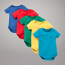 Buy John Lewis Baby Short Sleeve Bright Bodysuit, Pack of 5, Multi Online at johnlewis.com