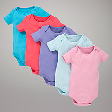 Buy John Lewis Baby Plain Short Sleeve Bright Bodysuits, Pack of 5, Multi Online at johnlewis.com