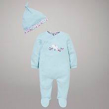 Buy John Lewis Baby Jumping Rabbit Sleepsuit, Aqua Online at johnlewis.com