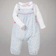 Buy John Lewis Baby Woven Bird Dungaree Set, Blue/Multi Online at johnlewis.com