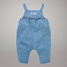Buy John Lewis Baby Flower Embellished Dungarees, Blue Online at johnlewis.com