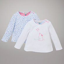 Buy John Lewis Baby Sketch Rabbit Long Sleeved Top, Pack of 2, White/Multi Online at johnlewis.com