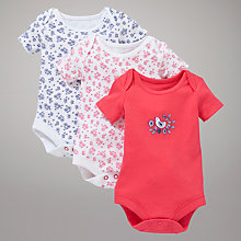 Buy John Lewis Baby La Rochelle Short Sleeve Bodysuit, Pack of 3, Multi Online at johnlewis.com