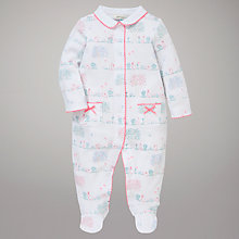 Buy John Lewis Baby Rabbit Scene Jersey Sleepsuit, White/Multi Online at johnlewis.com