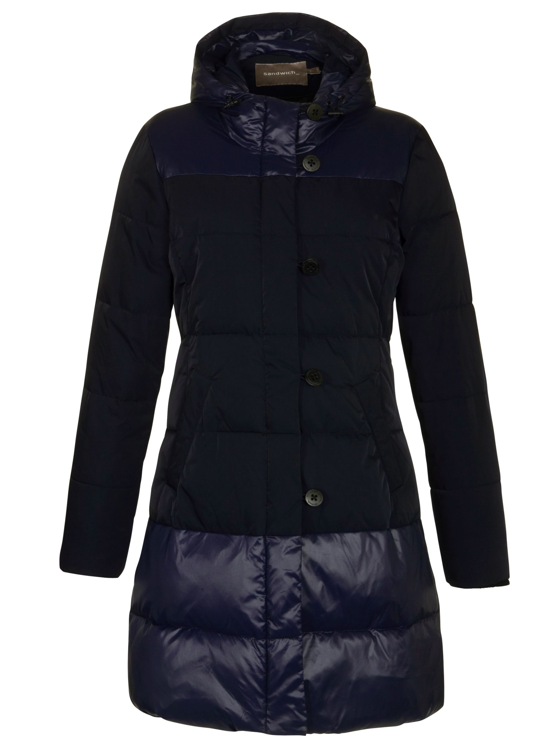 Sandwich Two Tone Long Quilted Coat, Dark Blue