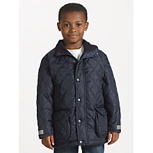 Buy Result Children's School Showerproof Quilted Coat, Navy Online at johnlewis.com