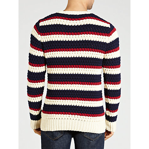 Buy Gant Chunky Stripe Crew Neck Jumper, Navy/Cream/Red Online at johnlewis.com