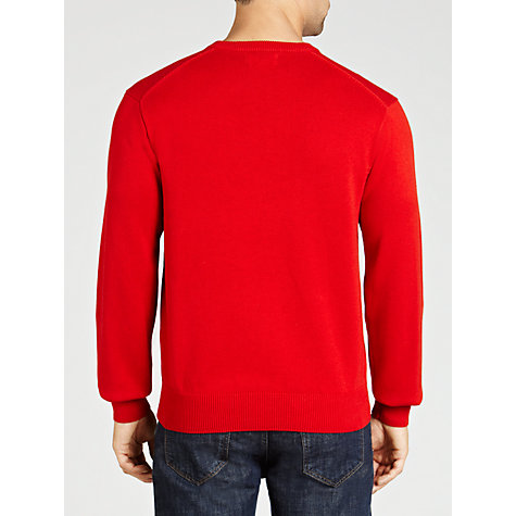 Buy Gant Solid Colour V-Neck Jumper, Strawberry Online at johnlewis.com