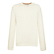 Buy Gant Basket Weave Crew Neck Jumper, Blue Iris Online at johnlewis.com
