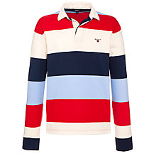 Buy Gant Block Stripe Rugby Top, Bright Red Online at johnlewis.com