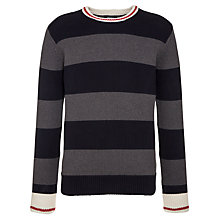 Buy Gant Bar Stripe Crew Neck Jumper, Black/Grey Online at johnlewis.com