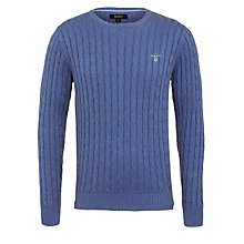 Buy Gant Cotton Cable Knit Crew Neck Jumper Online at johnlewis.com