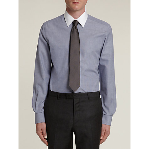 Buy Hardy Amies Semi-Cutaway Contrast Collar Long Sleeve Shirt, Blue Online at johnlewis.com
