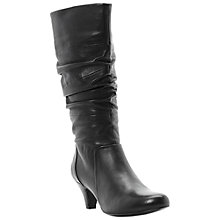 Buy Dune Reta Rouched Detail Leather Calf Boots, Black Online at johnlewis.com