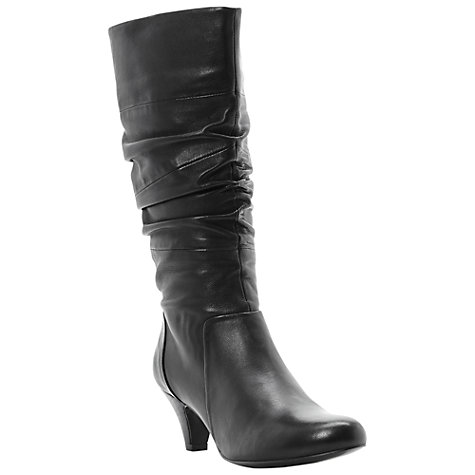 Buy Dune Reta Rouched Detail Calf Boots, Black Online at johnlewis.com
