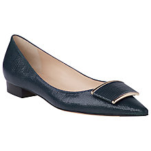 Buy L.K. Bennett Amelia Printed Flat Court Shoes, Navy Online at johnlewis.com