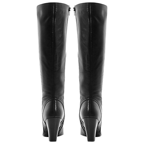 Buy Dune Sip Knee High Heeled Leather Boots, Black Online at johnlewis.com
